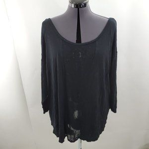 Lane Bryant Top 22 24 Sheer Knit Black Blouse 3/4